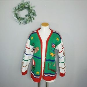 Vintage Hand Knit USA Football Ugly Sweater
